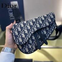 Dior-01  迪奧原版皮新款Dio Saddle Bag 迪20新款老花藍馬鞍包腰包胸包