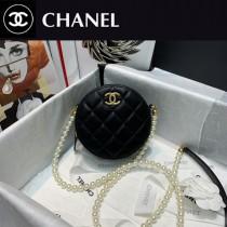 CHANEL 81082-01  香奈兒原版皮珍珠圓餅鏈條包