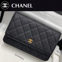 CHANEL-01  香奈兒新款原版皮新版吸扣版發財包WOC鏈條包