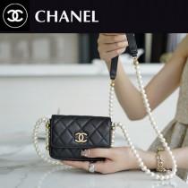 CHANEL-01  香奈兒新款原版皮新款珍珠鏈條零錢卡包