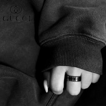 Gucci古奇古馳男女戒指陶瓷雙G黑白