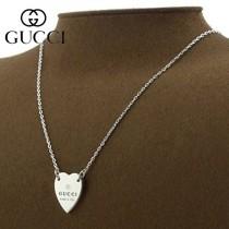 Gucci 2021新款香港代購古奇心形竹節項鏈 微標刻印圖案優雅心形吊墜可做情侶款