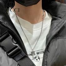 Gucci古奇 雕刻花紋雙G鑰匙款男女生項鏈 時尚韓版款圓珠鏈