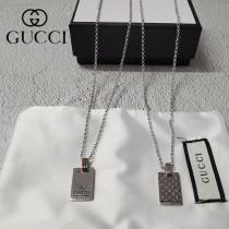 gucci 古奇純銀 方牌吊墜簡約項鏈 精美時尚潮流百搭款