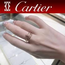 卡地亞Cartier釘子戒指 新款 雙層 鑲鉆戒指