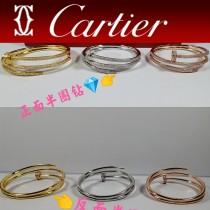 卡地亞滿鉆 雙層手鐲 Cartier釘子手鐲手工鑲嵌 頂級進口八心八箭鉆石