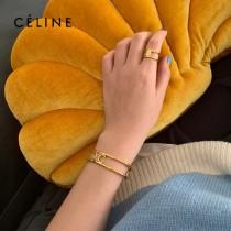 賽琳 celine 高版本 新款金色凱門旋標誌logo開口手鐲