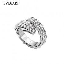 BVLGARI寶格麗寬版單圈滿鉆蛇戒指 均碼