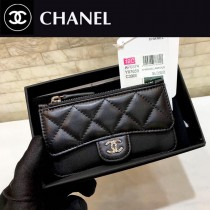 0374-01 chanel香奈兒新款CC單層原版皮多用卡包經典球紋小卡包零錢包
