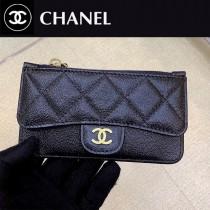 0374-02 chanel香奈兒新款CC單層原版皮多用卡包經典球紋小卡包零錢包