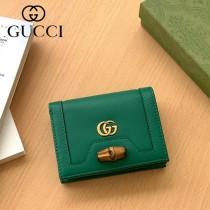 658244-02  Gucci古馳 Diana竹節系列原版皮短夾
