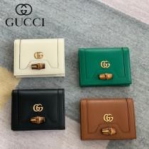 658244-04  Gucci古馳 Diana竹節系列原版皮短夾