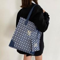 韩国2021新款老花NY牛仔托特包女时尚休闲手提包单肩包潮大包