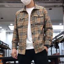 2021秋季新款男士格子外套裏襯時尚商務休閑百搭短款翻領單夾克男