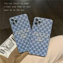 GUCCI 手機殼 刺繡藍色老花1211ProMax蘋果XXSXR手機殼iPhone7情侶8plus軟
