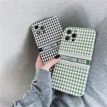 DIOR刺繡千鳥格手機殼 Dior1211ProMax蘋果XXSXR手機殼iPhone7情侶8plus